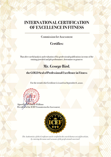 certificado de international certification of excellence in fitness